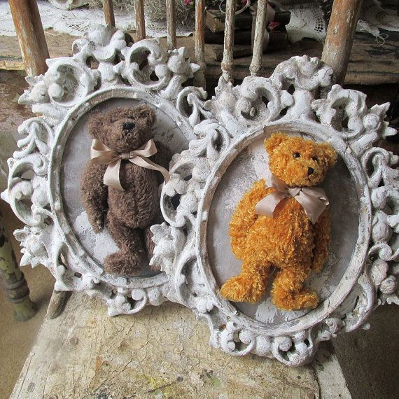 Framed teddy bear set wall hanging shabby by AnitaSperoDesign