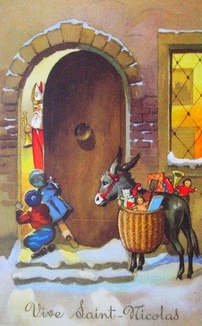 Carte postale illustrée : Vive Saint Nicolas [image retravaillée avec PhotoFiltre]