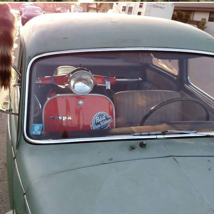 Vespa in car