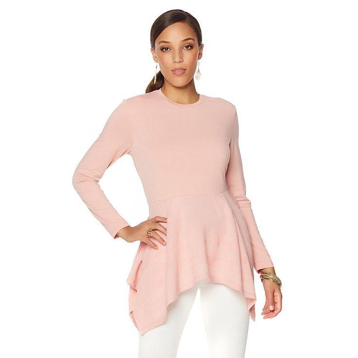 Serena Williams Handkerchief-Hem Long Sleeve Tee - Pink