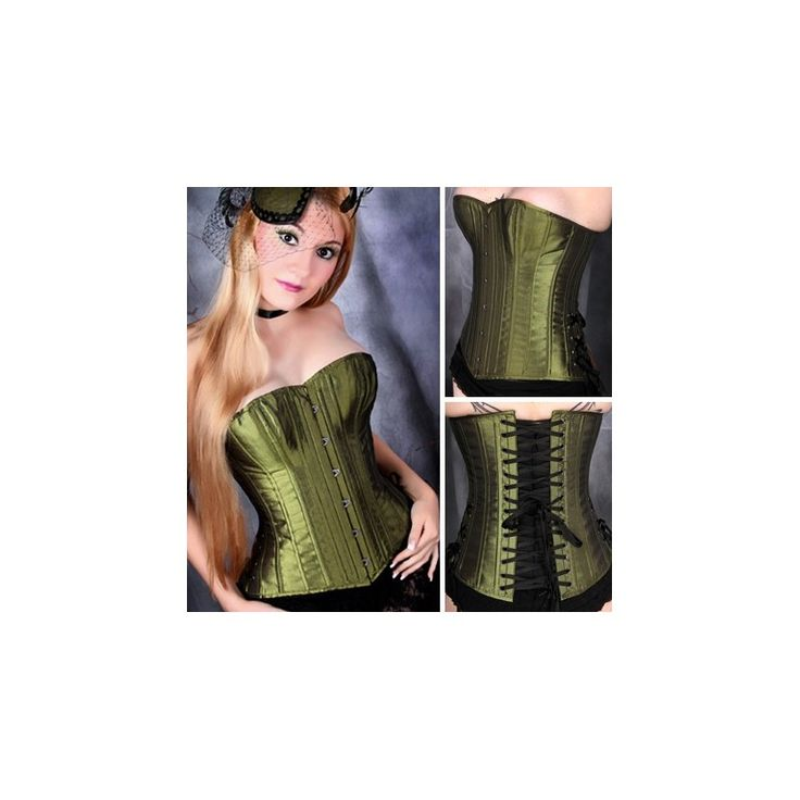 Olive green iridescent overbust corset that is affordable and well made.