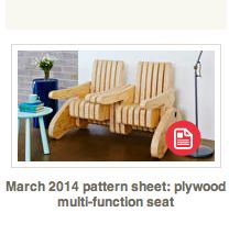 Make a multi-function seat from plywood tutorial. Changes from bench seat to arm chair to side table with 2 seats. https://au.lifestyle.yahoo.com/better-homes-gardens/diy/articles/a/-/21702629/march-2014-pattern-sheet-plywood-multi-function-seat/ DIY tutorial for versatile plywood chairs
