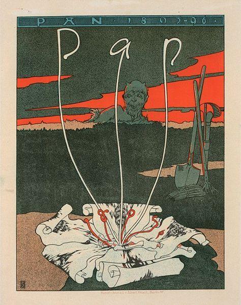 Werbeplakat für die Zeitschrift 'Pan' - Joseph Sattler; lithograph; year unknown (1895-1900).