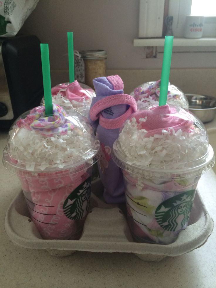 socks in starbucks cups diy baby gift idea and cute for baby shower