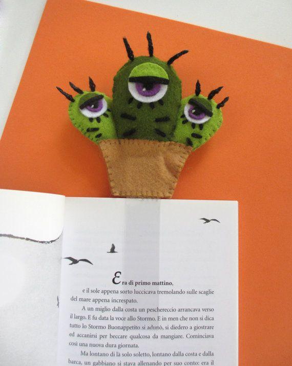 Cactus monster, felt bookmark