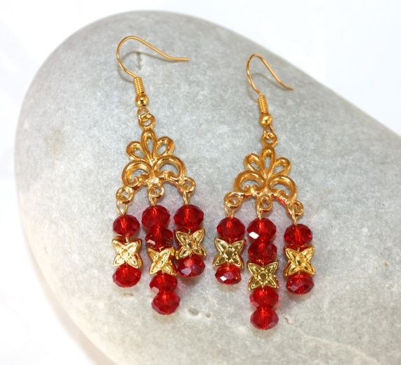 Earrings in red and gold.