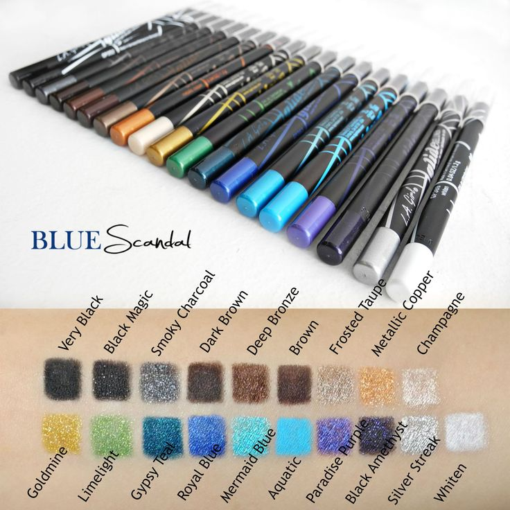 Showcasing LA Girl Cosmetics' Gel Glide Eyeliners! They're super creamy and pigmented, and after it sets it doesn't move! They're affordable and have an amazing shade range too. Such beautiful colors!  http://bluescandal.com/LA-Girl-Gel-Glide-Eyeliner-Pencil/