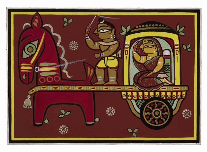 Jamini Roy - Untitled (Lady on Chariot)