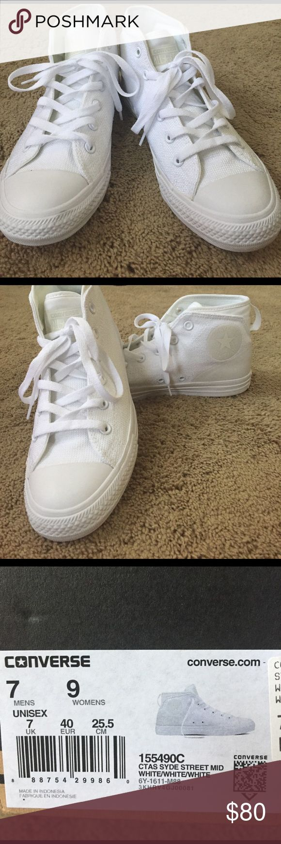 All white Chuck Taylor's Stylish comfortable white Chucks! Only worn Once size 7 men 9 women's Converse Shoes Sneakers