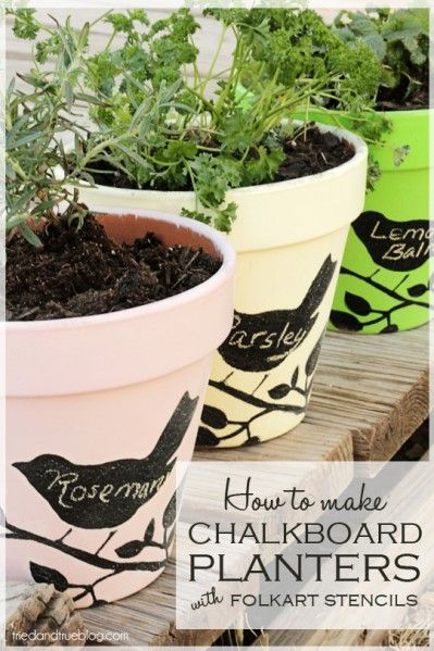 Make Stenciled Chalkboard Flower Pots for herbs.