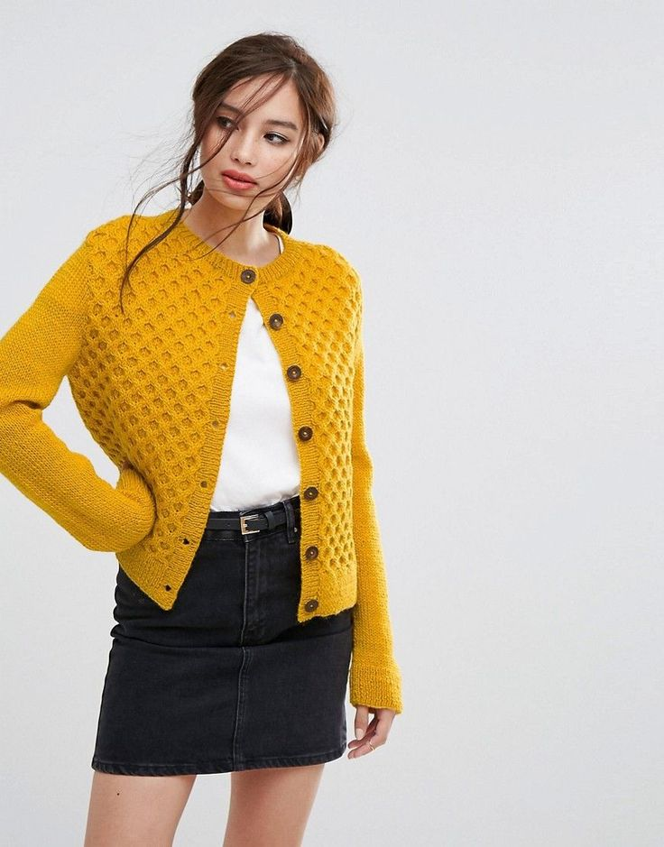 People Tree Hand Knitted Honeycomb Cable Knit Cropped Cardigan - Yello