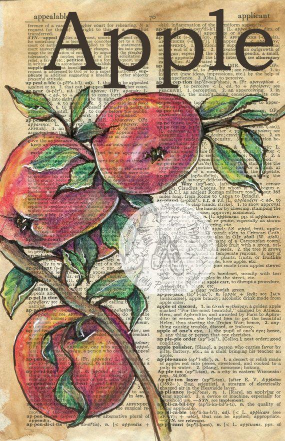 Druck: Apple-gemischte Medien Zeichnung auf antike Wörterbuch