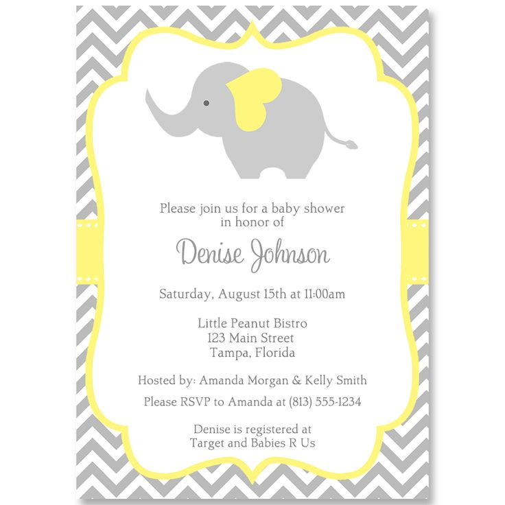 best baby shower elephant invitations images on, Baby shower