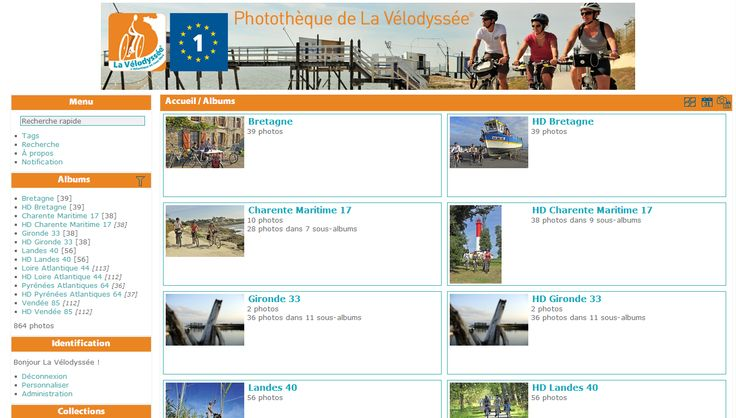 Le projet cycliste et sportif la Vélodyssée® s'est doté d'une photothèque Piwigo que j'ai réalisé en respectant l'intégralité du cahier des charges.