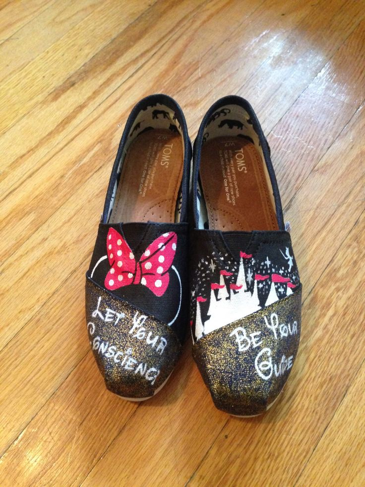 SALE: Minnie Mouse Disney Custom Toms Shoes MAGIC KINGDOM toms [disney toms] by ButterMakesMeHappy on Etsy https://www.etsy.com/listing/219057853/sale-minnie-mouse-disney-custom-toms