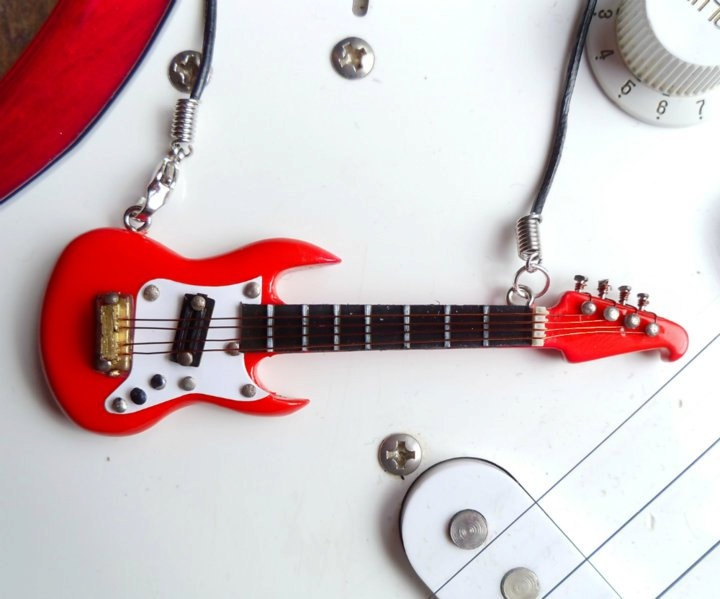 Red Lyon Washburn electric guitar necklace pendant rock by Mortiis.M Corsets & Accessories. £11.99, via Etsy.