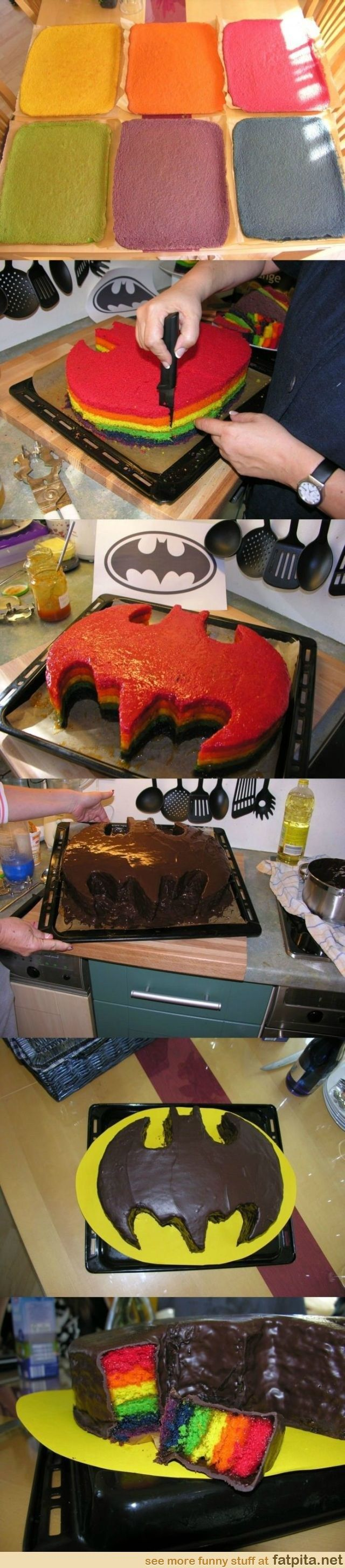 Batman rainbow cake, and you can eat the parts you cut out!