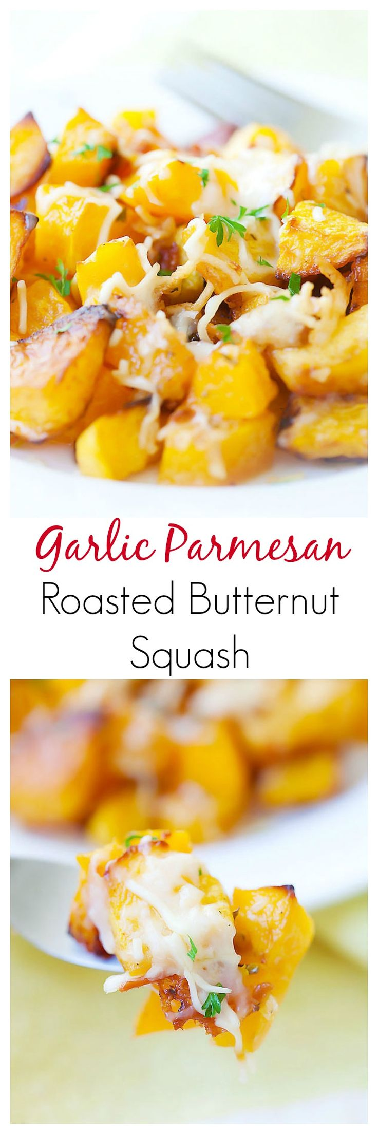 Garlic Parmesan Roasted Butternut squash – sweet tender butternut squash roasted with butter, garlic & Parmesan cheese. So AMAZING you want it every day | rasamalaysia.com