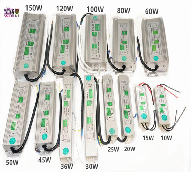 AC110V-260V do DC12V/24 V 10 W 20 W 30 W 50 W 80 W 100 W IP67 Wodoodporna Transformator Elektroniczny ze stopu Aluminium Zasilanie Sterownika LED