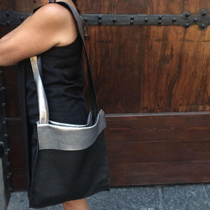 Color block black and silver italian leather deer print. Super soft, super trendy. Black and metallic steel