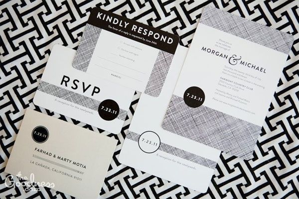Black and White with Rounded Corners. Love the Creme Envelope thrown into the mix. So simple and classy.