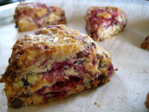 Raspberry Chocolate Scones - love raspberry and chocolate together.