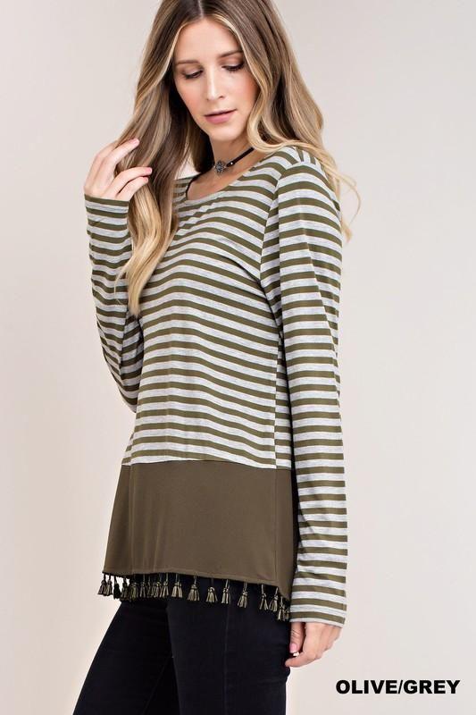 Olive/Grey Stripe Jersey Top with Fringe Hem
