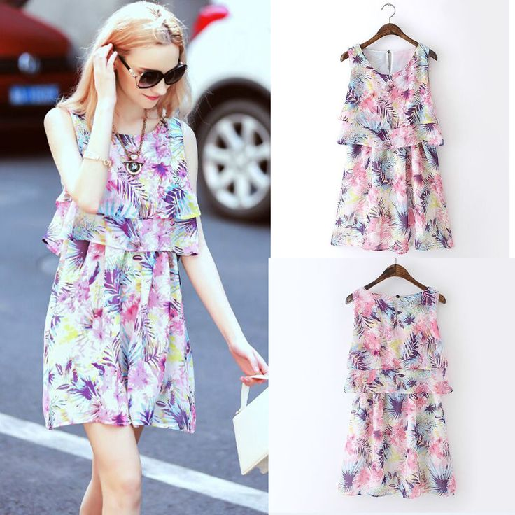 Women Chiffon Dresses Summer Sexy Casual Party Cocktail Prom Short Mini Dress #DL #CasualDress #Casual
