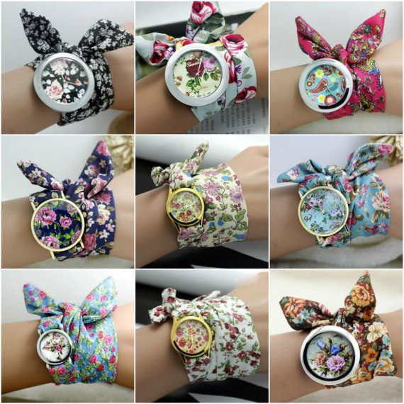 Chic Ladies Fabric Wrap Watch by SaltLily on Etsy