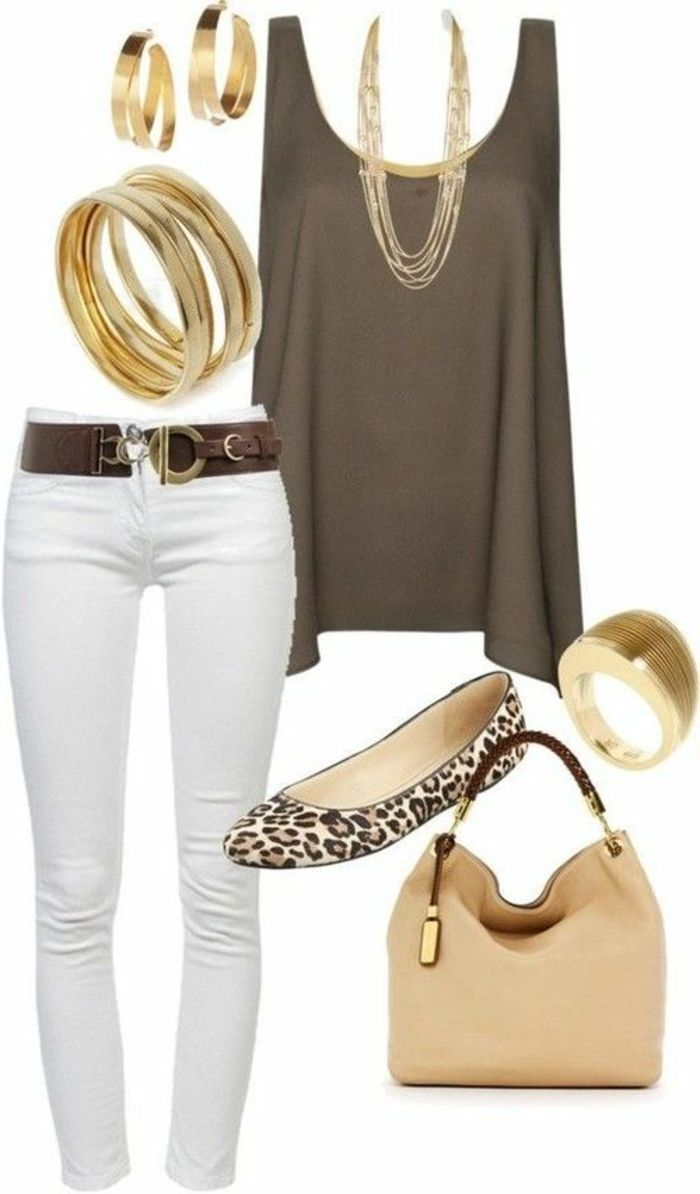 skinny white trousers and wide brown belt with golden clasp, plain golden bracelets and matching earrings, brown sleeveless top with golden necklace, animal print ballerina flats, next to pale brown bag and golden ring