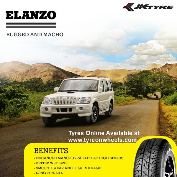 Buy Mahindra Scorpio Tyres Online of JK Tyres Elanzo Tubeless Tyres for Size 235/70R 16 also get fitted with Mobile Tyre Fitting Vans at your doorstep at Guaranteed Low Prices buy now at http://www.tyreonwheels.com/tyres/JKTyres/ELANZO-TUBELESS/1743