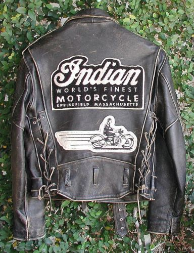 Motorcycle Bookbag leather motorcycle jacket w indian moto patch | Leather Motorcycle ...