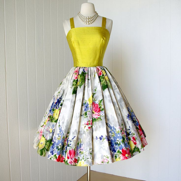 vintage 1950's dress ...made in france for SAKS FIFTH AVENUE gorgeous chartreuse shantung and floral cotton full skirt pin-up party dress. $270.00 USD, via Etsy.