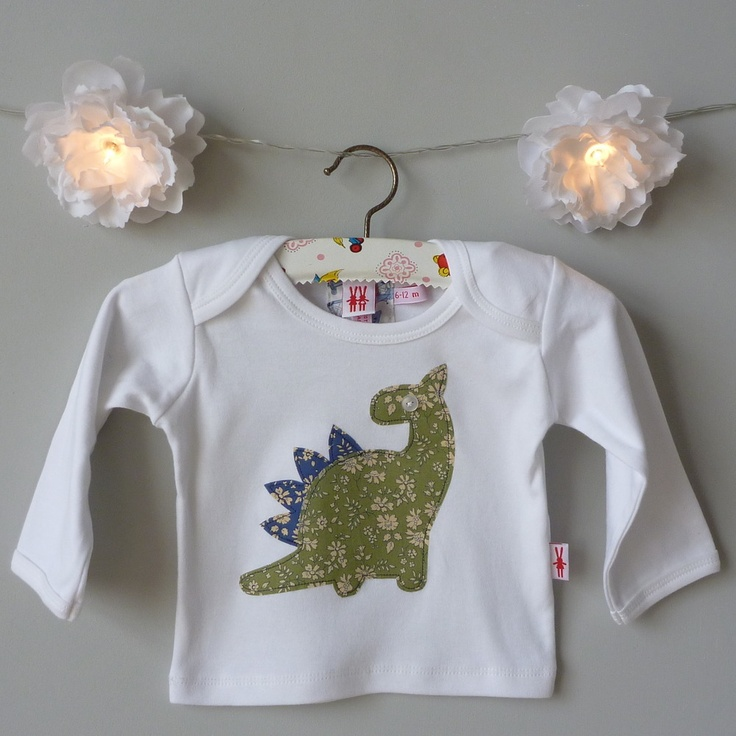 milk two bunnies — Dinosaur Organic Boy T-Shirt £20.00, fabulous green Liberty print applique dinosaur
