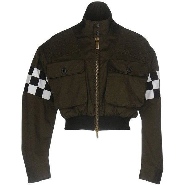 Dsquared2 Jacket ($750) ❤ liked on Polyvore featuring outerwear, jackets, dark green, single breasted jacket, animal jackets, zipper jacket, brown jacket and turtleneck jacket