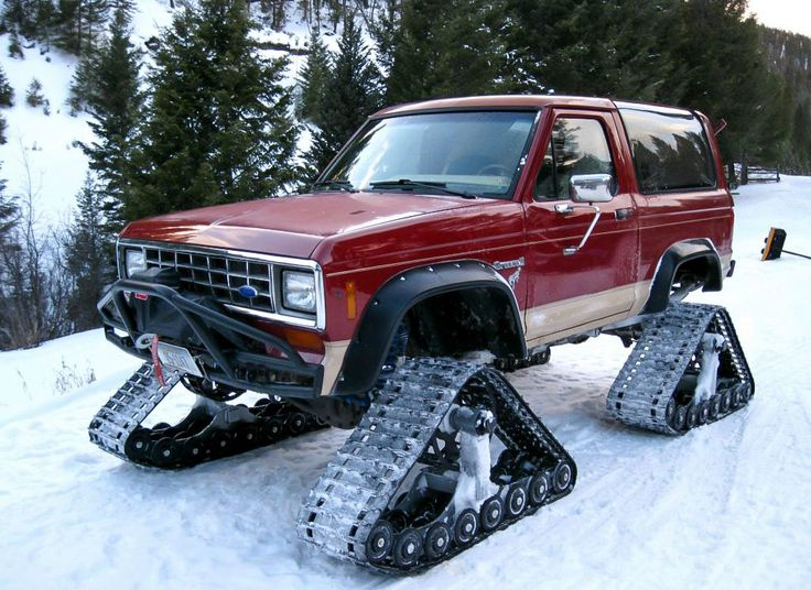 You don't see many Bronco 2's anymore. Here is one with snow tracks.