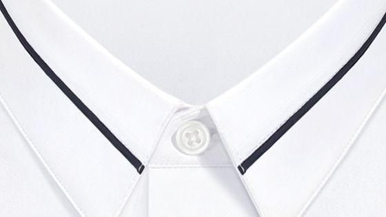 Navy blue trim at the collar, white cotton - Dior