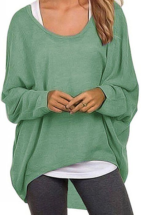 9c4a518c3a UGET Women's Sweater Casual Oversized Baggy Off-Shoulder Shirts Batwing  Sleeve Pullover Shirts Tops Asia S Light Green at Amazon Women's Clothing  store: