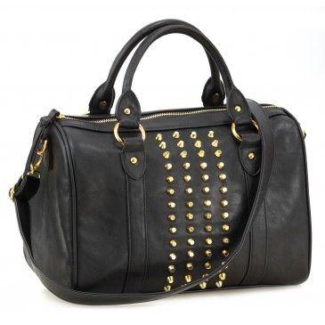 BIzou: Sac à main noir à clous: 39,90$ Trend: punk Description: Sac à main au goût du jour s'agençant à vos tenues tout en demeurant tendance. Un regard assuré avec ce sac le plus convoité.