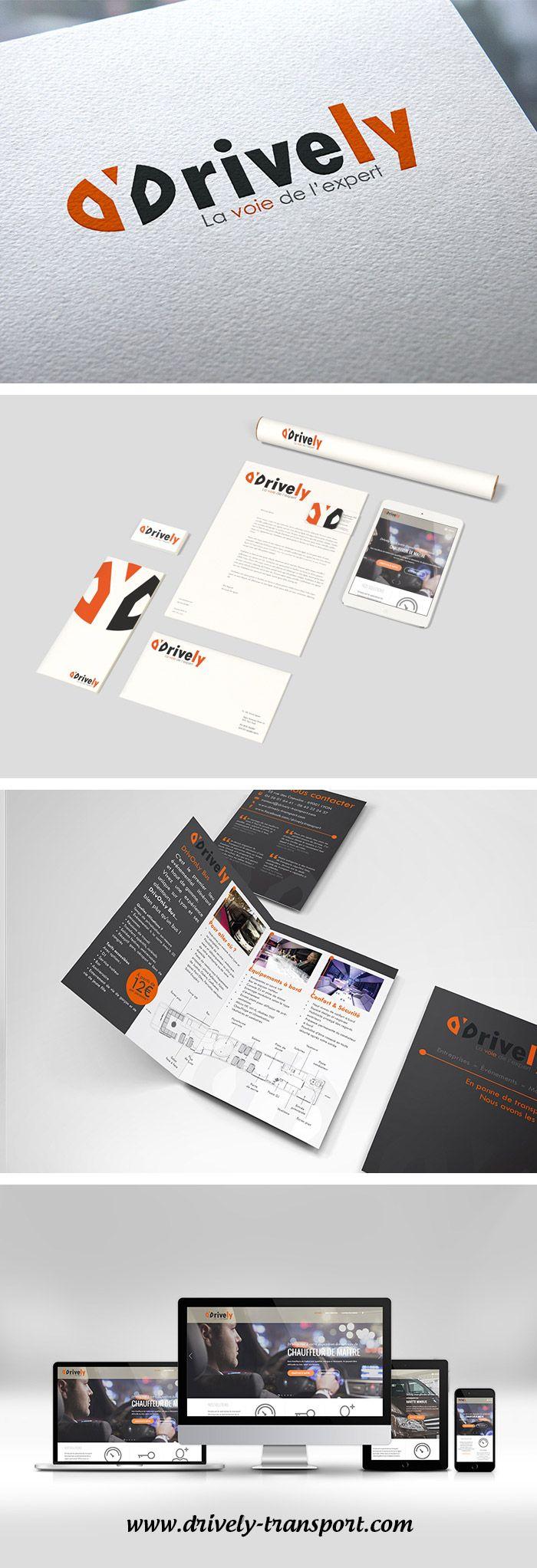 Logo, brochure, charte graphique, site internet - Logotype, booklet, graphic charter, website - Drively - Société de transport - Transport company - Monkey Medias
