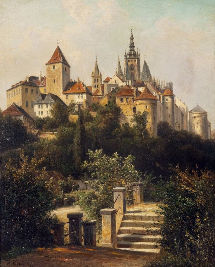 Alois Kirnig (1840–1911) — Seen views of Prague Castle from the Chotková-road,1899  (1102×1368)