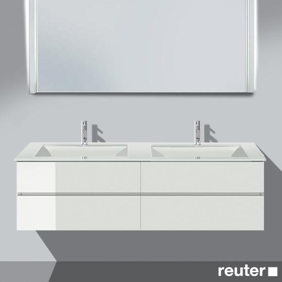 Burg Bel Waschtischunterschrank mit 4 Auszügen und Waschtisch Front weiß hochgl./Korpus weiß hochgl./WT weiß