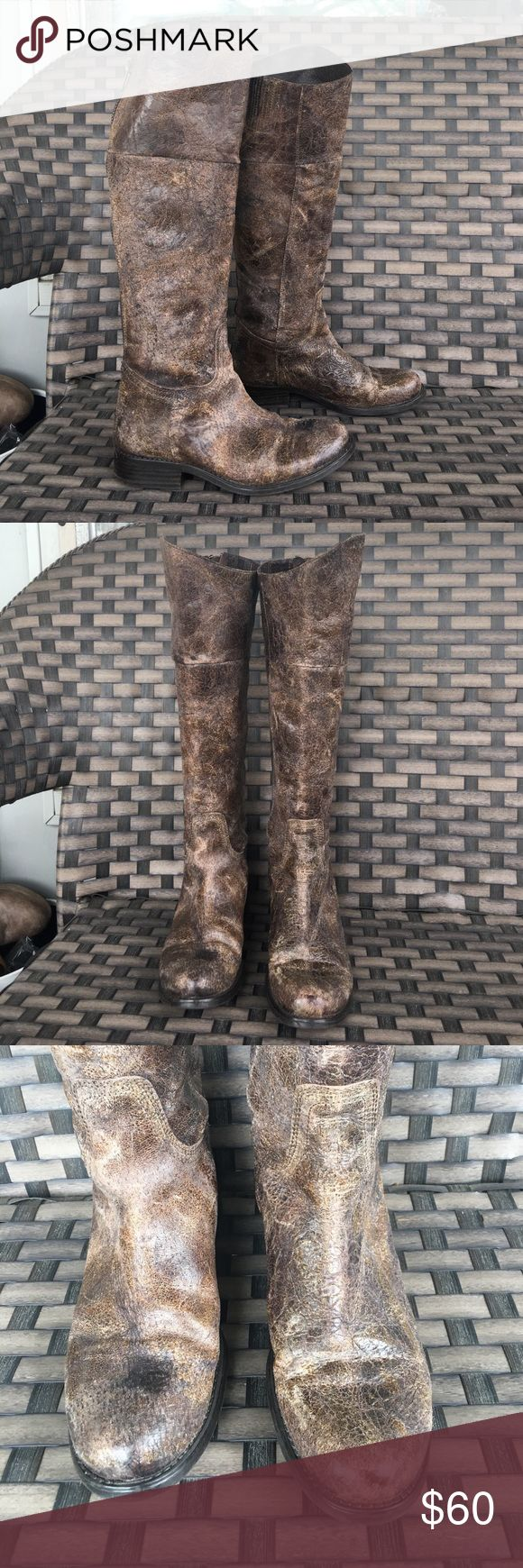 """Steve Madden rover distressed leather riding boot 8 very good preowned condition see pic awesome boots similar to freebird but are Steve Madden brand. Calf 14.5"""" shaft 16.5"""" Steve Madden Shoes Heeled Boots"""