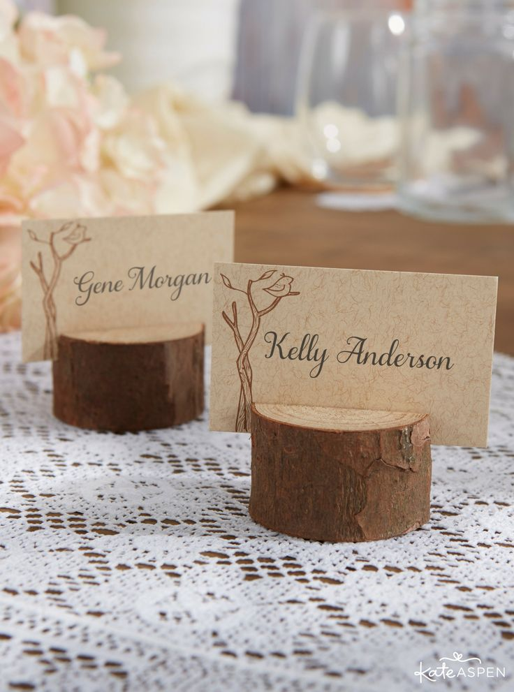 silver heart wedding place card holders%0A Real wood place card holders are perfect details for rustic weddings   showers  and parties  Guests will love these rustic wedding favors from  Kate Aspen
