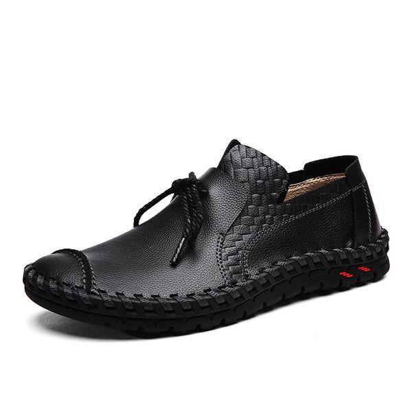Hommes Chaussures en Cuir Printemps Automne Conduite Chaussures Renforcer la Chaussure Confort Sneakers Lacets pour Casual Léger en Plein Air Athlétique (Couleur : B, Taille : 38)