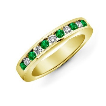 Angara Womens Square Emerald and Diamond Semi Eternity Band in Platinum
