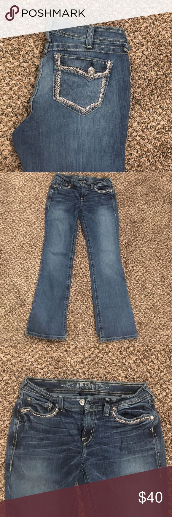 Size 30 Ariat Turquoise Jeans Worn once! Super cute Silver stitching Ariat Jeans Ariat Jeans Boot Cut