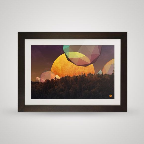 Rising sun in the rain forest. A combination of three dimensional geometric forms, warm colours and photographies.    Free for you and your wall.
