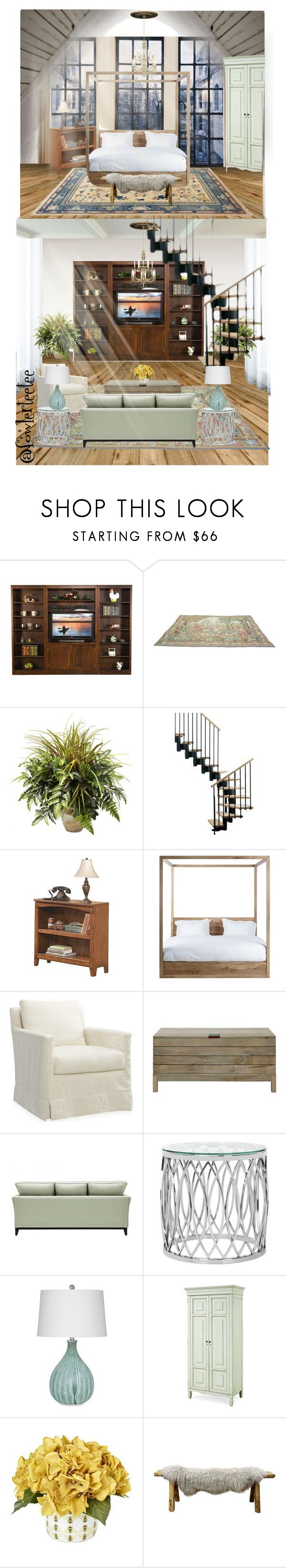 """""""Two-Story Condo"""" by fowlerteetee ❤ liked on Polyvore featuring interior, interiors, interior design, home, home decor, interior decorating, DutchCrafters, Nearly Natural, Signature Design by Ashley and John Lewis"""