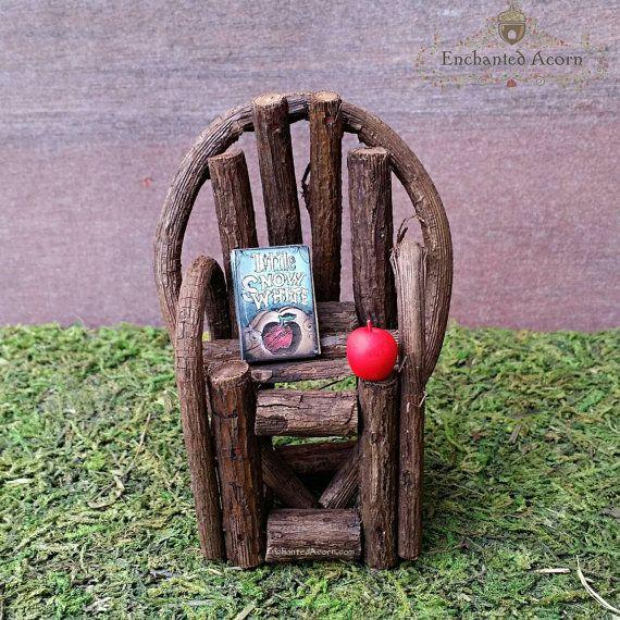 Woodland Fairy Garden Chair with Snow White Book   Red Apple   Fairy Garden  Furniture  Miniature Garden Accessories  Dollhouse Accessory. 354 best images about Fairy Garden Furniture on Pinterest   Chairs